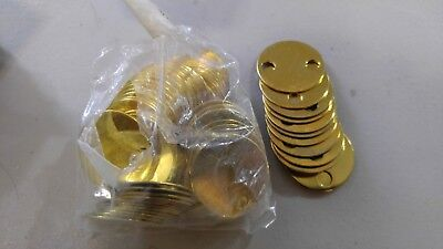 """90 Brass Key Tags 1 1/4""""  Round 2 Hole NOS Blanks Equipment Tool Asset ID Tag"""