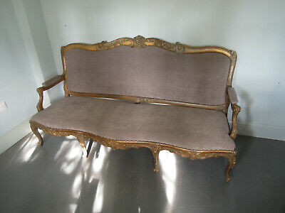 Vintage French Sofa. Baroque Louis XV Wood Carved Sofa 3 seater