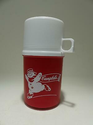 Vintage Campbell's Soup Thermos Red with White Snowman Plastic