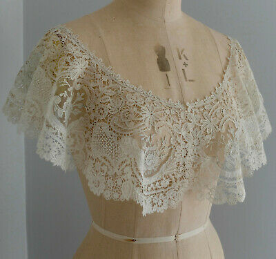 Antique 19th c Brussels duchesse and point de gaze lace bertha