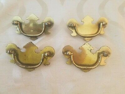 Vintage Set of 4 Antique Brass Chippendale Batwing Drawer Pulls Drop Bail Handle