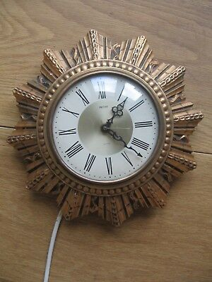 Smith Sectric sunburst electric clock antique retro wired wall clock working