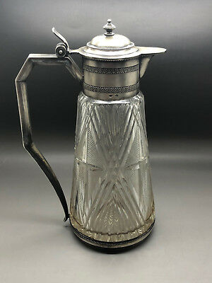 VERY RARE ANTIQUE RUSSIAN SILVER GLASS CLARET JUG !! 84 LEV OLEKS MOSCOW c. 1910