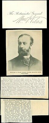 1885, AUTOGRAPH, WILLIAM F. VILAS, US WIS SENATOR, 33rd POSTMASTER GENERAL, MORE