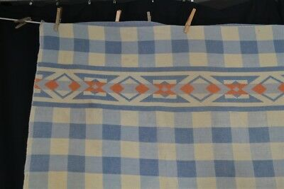 antique blanket camp lodge cotton Native Indian blue white  1930 depression