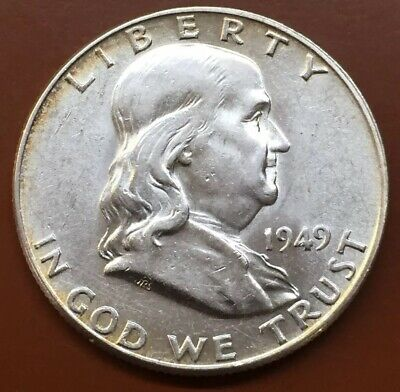 1949-P Franklin Silver Half Dollar AU/UNC Uncirculated Coin Nice Bell Lines