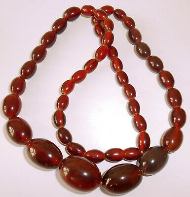 f4cb68589dce Vintage Art Deco Cherry Amber Marbled Bakelite Graduated Beads Necklace