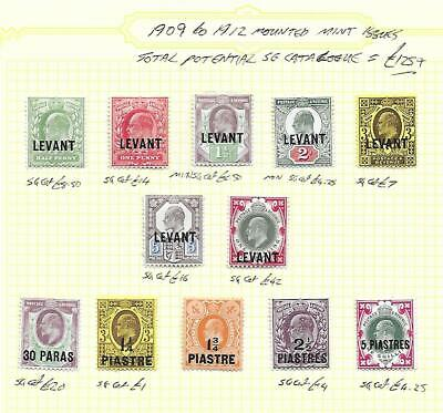 British Levant Stamp Collection Edward VII mm issues inc 1/-. SG Cat: £125+