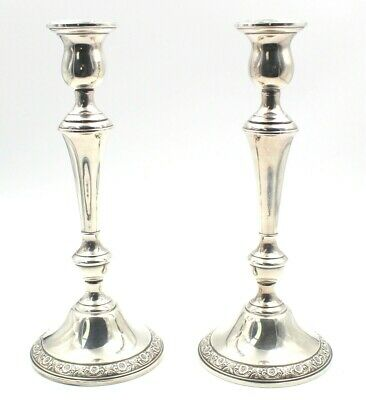 Lot Of 2 Prelude International Sterling Chased Flower Candle Stick Holders #4585