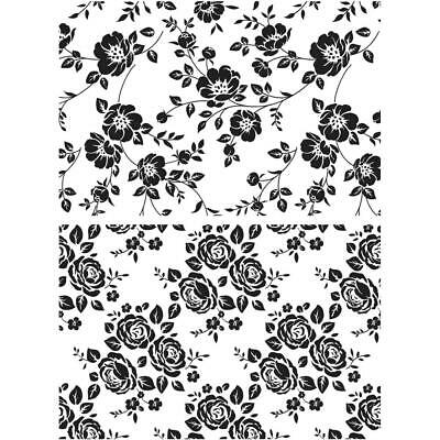 """Tim Holtz Stampers Anonymous """"VINES & ROSES"""" Rubber Cling Stamp Set"""