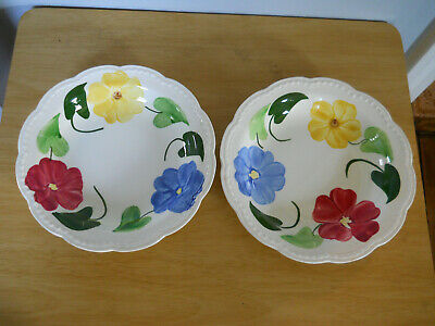 "Beautiful Hand Painted Pansies Heritage Ware by Stetson Floral Bowls 8.5"" EUC"