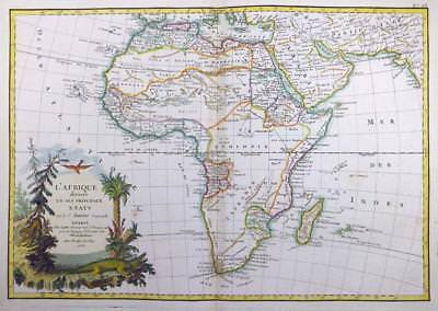 1762 - Original Decorative Antique Map of AFRICA AFRICAN CONTINENT by Janvier