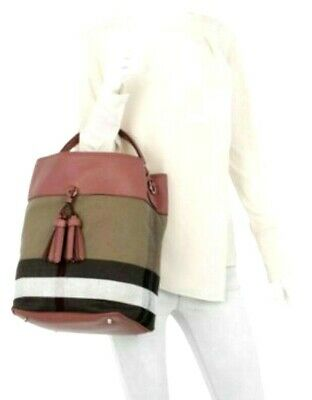 NWT BURBERRY Brit Grainy Canvas Check Medium Ashby Tassel Hobo ROSE PINK 7b4972565f503