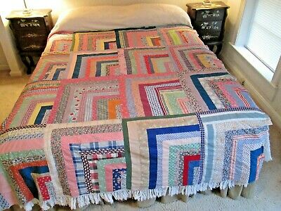 """Colorful Vintage 1920's 30's Log Cabin Quilt Top 66 by 80"""""""
