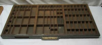 Vintage Printers Drawer Letterpress Tray 89 Compartments Shadow Box Gray Front
