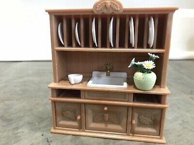 Calico Critters Dining Room Set Hutch Sink Table Chairs Euc Furniture Plates