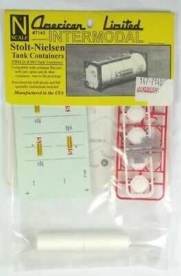 American Limited Intermodal N scale Kit 7140 - 2 Stolt-Nielson 20 ISO Containers