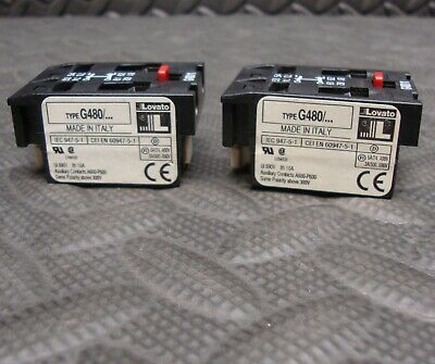 2 Lot NEW Lovato G480/11 Auxiliary Contact