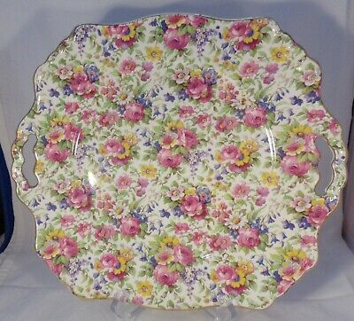 Vtg Chintz Porcelain England Floral Cake Plate Handled Gold Edged  Very Nice 11""