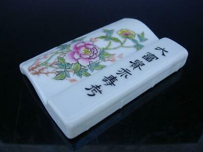An Antique Chinese Famille Rose Porcelain Brush Rest With Inscription