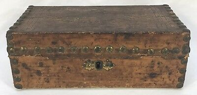 Small Antique Early Hand Tooled Leather & Wood Box Chest Brass Tacks