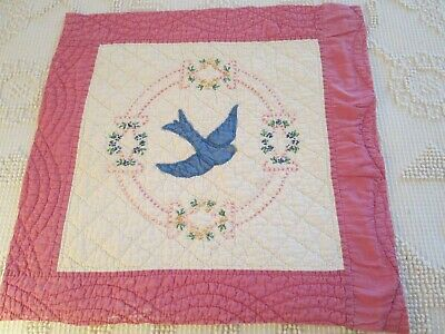 """Antique APPLIQUED & EMBROIDERED Blue Bird  QUILT BLOCK 19 by 20"""""""