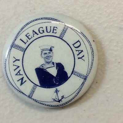 WW2 Navy Day League Button Badge Sailor
