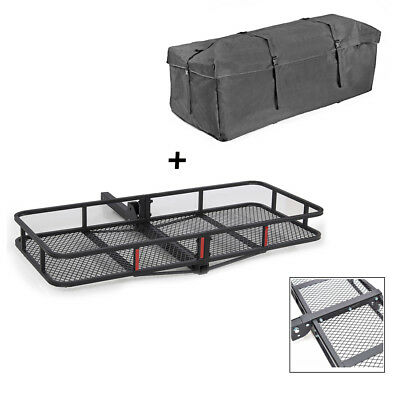 """500lbs 60""""x20"""" Cargo Carrier 2"""" Hitch Haulter Mounted Luggage Basket + Bag"""