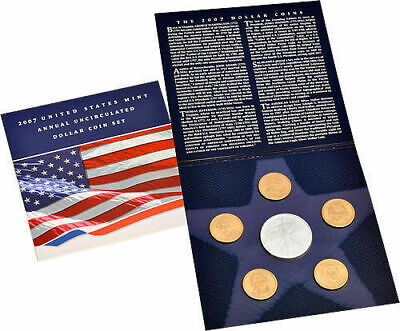 2007 Annual Uncirculated Dollar Coin Set w/ 2007 W Silver Eagle Mint Condition !