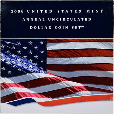 2008 Annual Uncirculated Dollar Coin Set w/ 2008 W Silver Eagle Mint Condition !