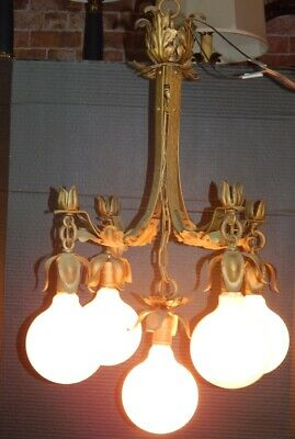 Gorgeous Antique Gold Leaf 5 Socket hanging Lamp Arts Crafts ? French ? Gothic ?