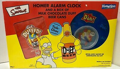 The Simpsons Kinnerton 2003 Homer Alarm Clock W/ Duff Chocolate Beer Cans