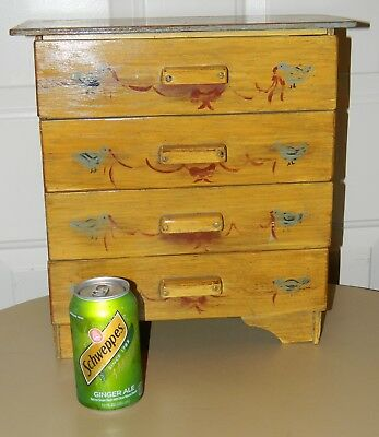 Antique Primitive Folk Tramp Art Hand Made From Wood Crates Doll Childs Dresser