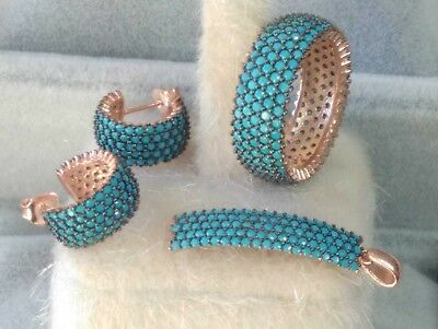 Aaa Quality Sterling 925 Silver Jewelry Micro-Pave Blue Turquoise Lady Full Set