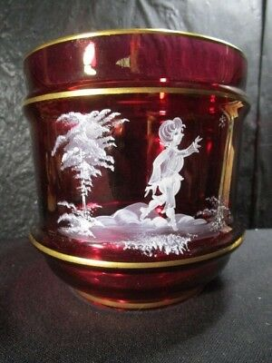 Cranberry  Mary Gregory Glass  Vase  White Enameled Boy  Gold Trimmed
