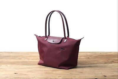 Longchamp New Le Pliage Nylon Tote Handbag Garnet Red Large Authentic France 5becd748d0edd
