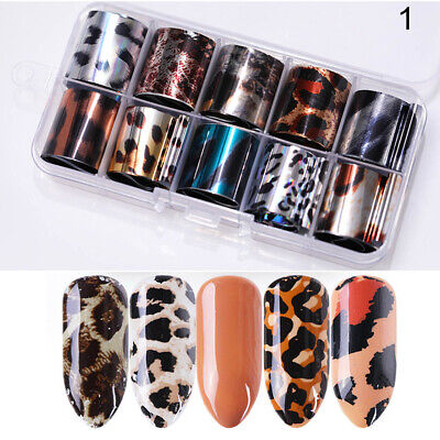 10 Rolls/Box Holo Nail Foils Starry Sky Nail Art Stickers Tiger Pattern Decals