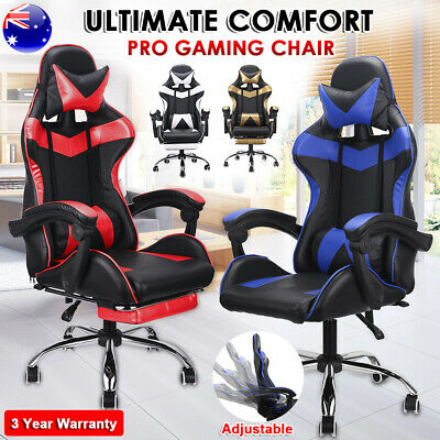 Gaming Chair Computer Office Racing PU Leather Seating Racer Footrest Executive