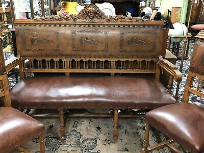 Vintage  Spanish Revival  Carved Settee Bench & 4 Chairs w/ Tooled Leather Seats