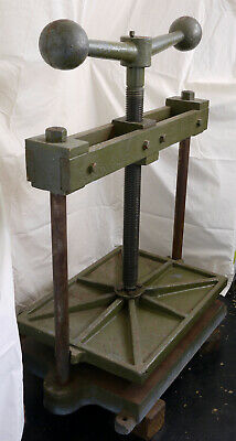 LARGE antique cast iron, steel, brass book press VERY HEAVY 605mm x 455mm plate