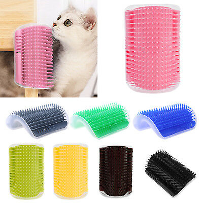 Cats Self Groomer Brush Wall Corner Grooming Massage Tickling Comb Catnip Rubs#