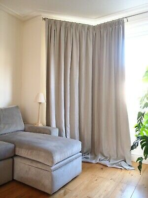 LUXURY GREY 100 Linen BLACKOUT Thermal Lined Huge 2.75m LONG 2.05m WIDE CURTAINS