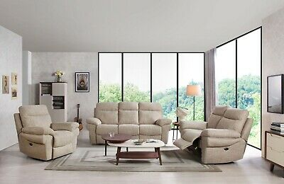 Tanya Fabric Electric Recliner Sofa Suite 3+2+1 LazyBoy Grey Coffee Caramel New