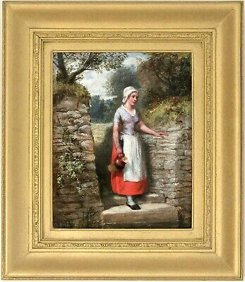 Fetching Water Antique Oil Painting by William Bromley (British, fl.1835-1888)