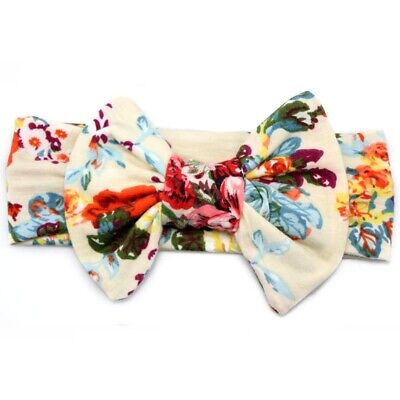 Baby Kids Girl Children Bowknot Print Floral Hair Band Turban Knot Headband #13