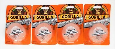 "Gorilla Clear Double-Sided Mounting Tape - 1"" X 60"" - Weatherproof - Lot of 4"