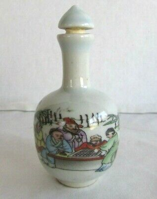 Vintage Antique Chinese Porcelain Snuff Bottle - Playing Mahjong - Signed