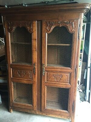 Antique French Carved Oak Cabinet Armoire Bookcase Louis XV