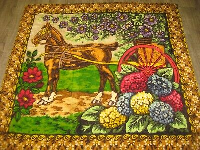 ANTIQUE STROOCK Horse Cart Floral Horsehair Buggy Carriage Lap Sleigh Blanket
