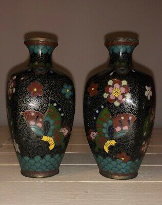 Pair Of Old Chinese Cloissonne Vases Stunning Detail
